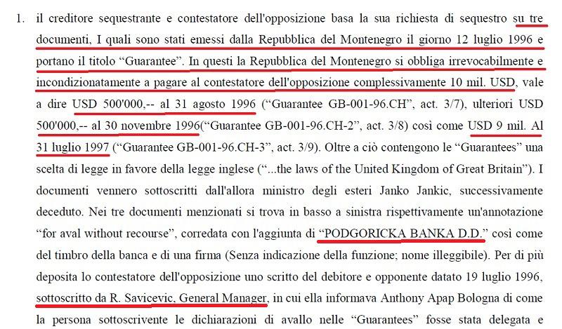 Скриншот из пресуде Суда у Цириху гдје се наводи да је Влада Црне Горе гарантовала исплату 10 милиона евра, на колико су словиле три Гаранције. Фото: in4s.net