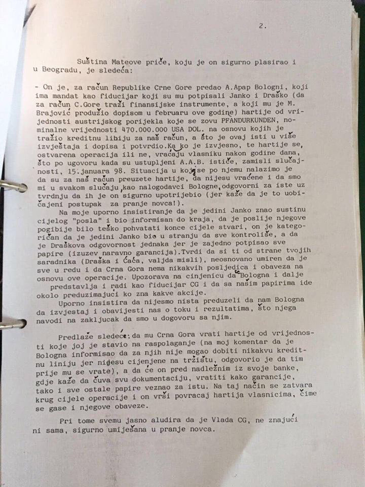 Писмо Душанке Јекнић Милу Ђукановићу, 1997. година. Фото: in4s.net